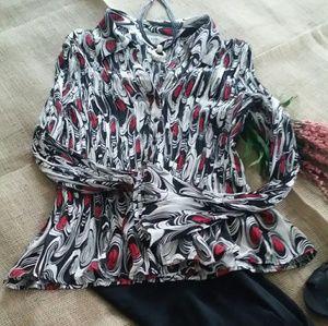 NWOT-Cute black, white & red top